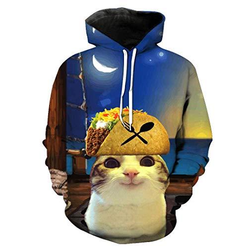 Mode Kreativ Männer und Frauen 3D Kapuzenhauben Star Cat Series, W-Y, f, Groß