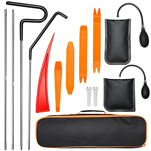 Car Tool Kit Professional Emergency Automotive Tool with Easy Entry Long Reach Grabber Air Wedge Non Marring Wedge PVC Pump Bag for Truck Vehicles