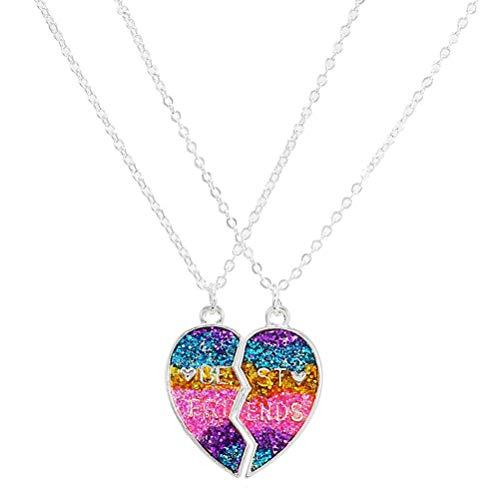 Tianlun Colgante de Medio corazón, Collar con Colgante de Medio corazón magnético de Mejores Amigos 2 unids/Set joyería de la Amistad del Encanto para Mujeres y niñas