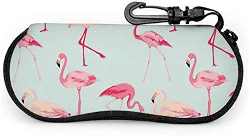 Tropical Flamingo Animal Pink Color Sunglass Pouch For Kids Child Eyeglass Case Light Portable Neoprene Zipper Soft Case Soft Eyeglass Cases For Men