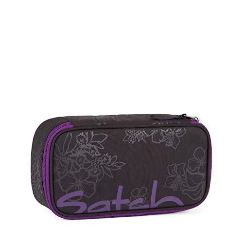 Satch Schlamperbox - Mäppchen groß, Trennfach, Geodreieck - Purple Hibiscus - Black
