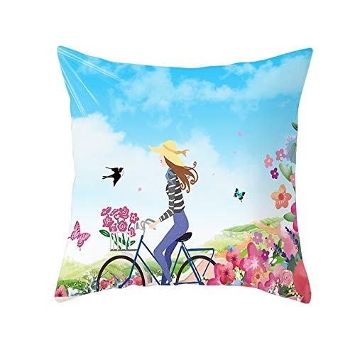 Funda de Cojín Decorativos Funda de Almohada Hermosa chica con bicicleta Cuadrado Terciopelo Suave Cojines Decor con Cremallera Invisible para Sofá Decor Hogar Funda de Cojín M204 Pillowcase,45x45cm