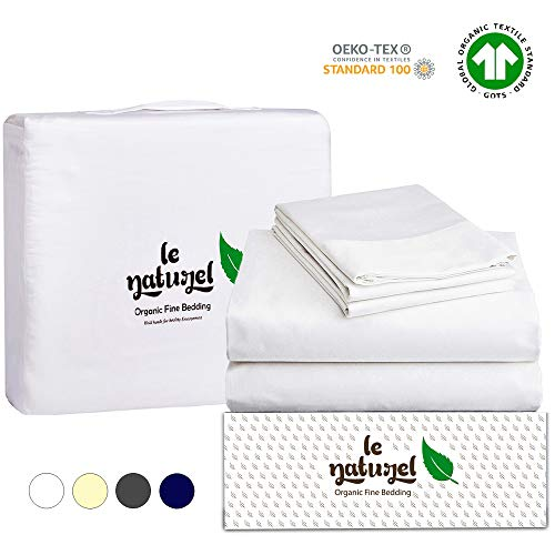 Le Naturel Organic Cotton Bed Sheets Queen - Organic White Sheets - 300 Thread Count Organic Cotton - Organic Cotton Sateen Sheets - Deep Pocket Organic Cotton Sheets - GOTS Certified Sheets