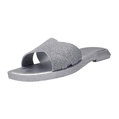 Sandali da donna estivi con paillettes e paillettes con strass, casual, tacco piatto, elegante e alla moda