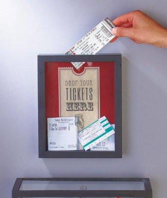 Ticket stub saver as a fun 1st wedding anniverary gift idea