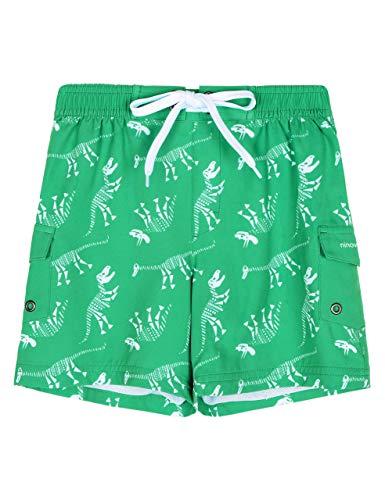 ninovino Traje de baño para niños de secado rápido, pantalones cortos de baño para niños pequeños, tallas de 2T a 8, Floral verde y blanco, 8