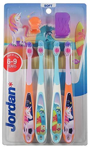 Jordan ® | Step 3 Zahnbürste Kinder | Kinder zahnbürste für 6-9 Jahre | Weiche Borsten, doppelter ergonomischer Griff & BPA-frei | Rosa und Blaue Farbe | Pack 4 Einheiten