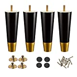 Wood Furniture Legs, 6 inch Couch Legs, Sofa Legs Set of 4 for Furniture, Mid Century Desk Legs, Replacement Legs for Couch Dresser Sideboard Recliner Couch Circle Chair -Black