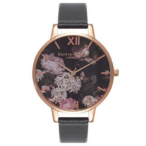 Olivia Burton Damen Analog Quarz Uhr mit Leder Armband OB15WG12