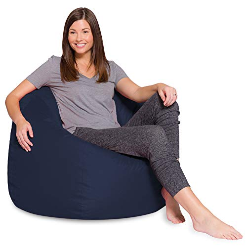 Posh Beanbags Bean Bag Chair, 48in - X-Large, Solid Navy Blue