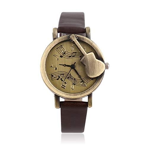 Vintage-Armbanduhr, einzigartiges Design, Gitarre, Stave, Musiknotation, Analog, Quarz, PU-Leder, Retro, Geschenk Hot Search – Kaffee