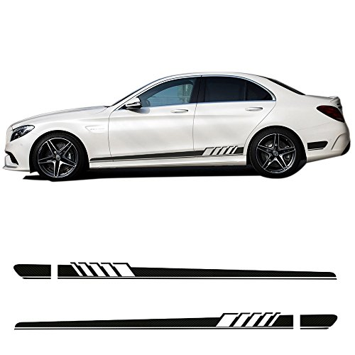 2 Pieces Car Racing Stripes C63 AMG Edition 1 Side Skirt Stripe Black Vinyl Decals Stickers for Mercedes Benz C Class W205 C180 C200 C230 C280 C300 C320 C350 C63 AMG Accessories - Gloss Black