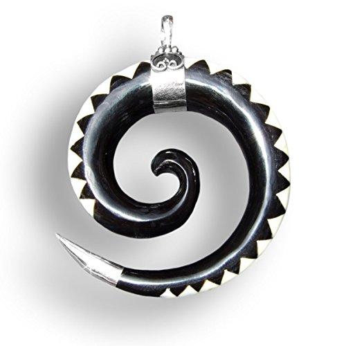 ISLAND PIERCINGS Spirale Design Anhänger Handarbeit aus Horn und Silber PB145