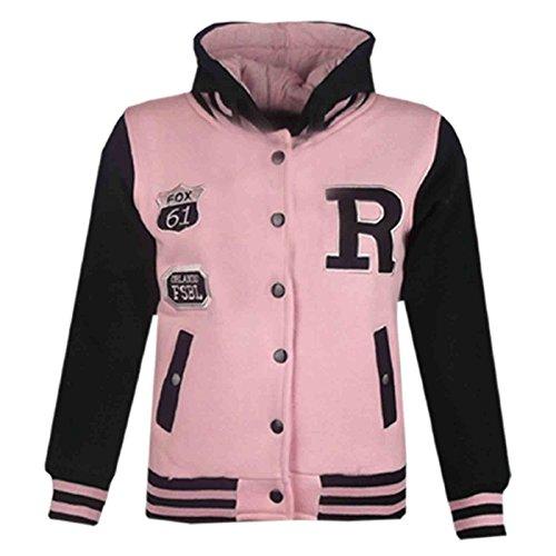 A2Z 4 Kids Unisex Kinder R Fashion Aufdruck - Baseball Jacket Baby Pink & Black 5-6