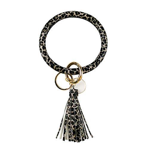 Leather Bracelet Key Ring Bangle Keyring, Tassel Ring Circle Key Ring Keychain Wristlet for Women Girls – Free Your Hands (Black Leopard)