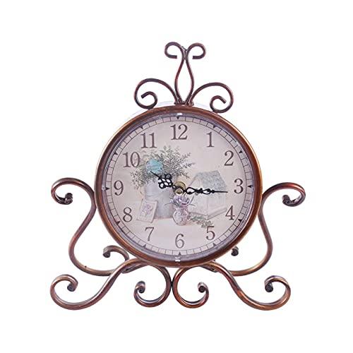 HAINING Relojes de Alarma, Reloj de Escritorio Retro de Estilo Europeo único, Arte de Hierro clásico, Reloj Despertador de Mesa silencioso, decoración del hogar, sesión de realeza