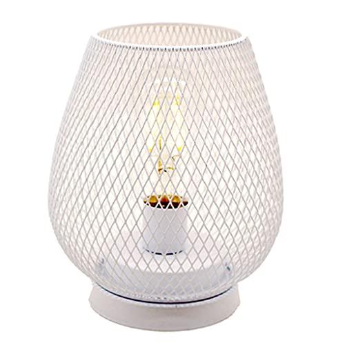 Fenteer Lámpara de Mesa con Forma de Jaula de Hierro Malla Industrial Decorativa Luz de Escritorio de Oficina de Dormitorio - Blanco