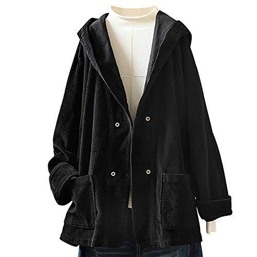 YEBIRAL Damen Herbst Frühling Cordjacke Lässig Bequem Mantel Jacke mit Kapuze Langarm Kapuzenjacke Sweatshirt Oversize Coat(3XL,Schwarz)