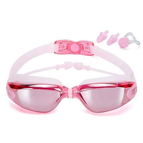 Gafas de natación Galvanoplastia impermeable impermeable antivuelco antivuelve gafas de baño gafas de agua gafas de natación ajustables mujeres hombres Accesorios de natación ( Color : Pink )