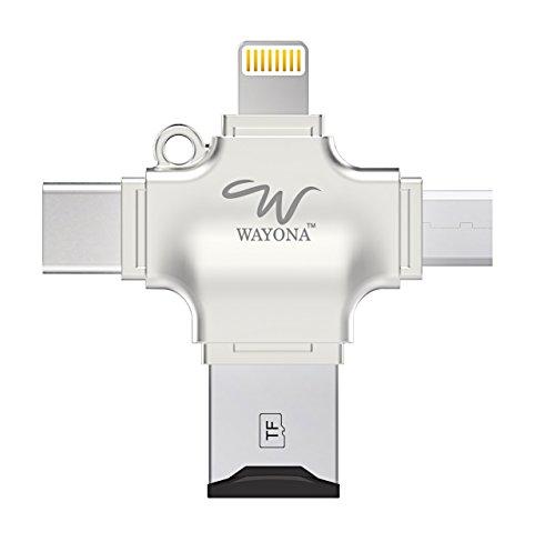 Wayona 4 in 1 OTG Card Reader Four Ports : Lightning + Type C + Micro USB + USB Card Reader - Like Iflash, Idisk for iPhone, Ipad, Micro USB, SDHC Lightning Flash Drive (NO Memory, Silver)