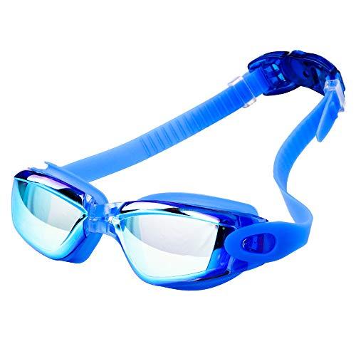 U/K - Occhialini da nuoto per adulti, uomini, donne, giovani, bambini, senza perdite, anti appannamento, protezione UV 400, impermeabile, 180°, trasparente, per triathlon, da piscina, colore: blu