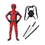 MIAOXI Disfraz Cosplay de Deadpool niños,Mono 3D para Adultos,Mochila y Accesorios Conjunto Completo,Red-170~180cm