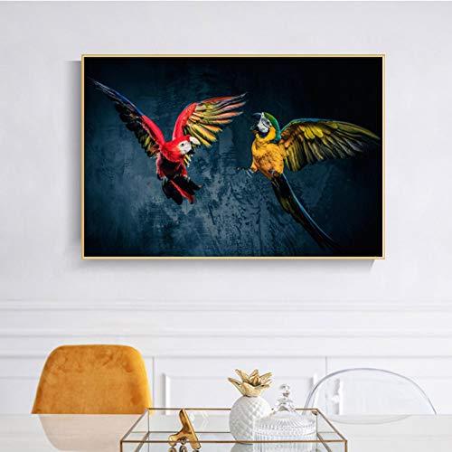 GASFG Mooie papegaai poster en print wandafbeelding canvas schilderij muurschildering dier kunst afbeelding woonkamer decoratie fotolijst Gerahmt 30 x 42 cm.