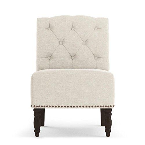 Jellywood® MCRAL Barock Polster Sitzbank mit Rückenlehne/Lounge-Sessel ohne Armlehnen, Dicke Polsterung mit Federung Sitzhöhe 45 cm Beige (Cream)