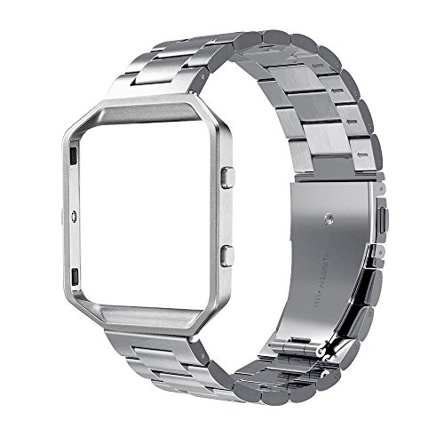 Simpeak Band Frame Compatible with Fitbit Blaze, Replacement Stainless Steel Band with Metal Frame Replacement for Fitbit Blaze, with Link Removal Tool, Silver