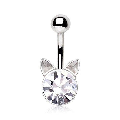 Pierced Owl Crystal Cat Kitten Belly Button Ring 316L 14g Navel Ring