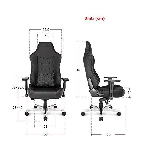 AKRacing Office Series Onyx Deluxe Executive Real Leather Desk Chair with High Backrest, Recliner, Swivel, Tilt, Rocker & Seat Height Adjustment Mechanisms, 5/10 Warranty - Black -