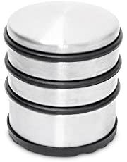 Relaxdays Deurstopper zwaar, deurvastzetter met rubberen ringen, deurbuffer van roestvrij staal & rubber, HBT: 75x68x68 mm, zilver