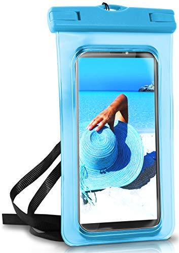 ONEFLOW wasserdichte Handy-Hülle für alle HTC Modelle | Touch- und Kamera-Fenster + Armband & Schlaufe zum Umhängen, Blau (Aqua-Blue)