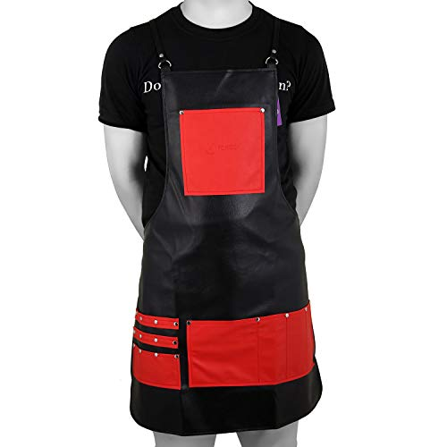 FORGICA PU Professional Leather Apron Hair Cutting Hairdressing Barber Apron Cape for Salon Hairstylist - Multi-use, Aprons For Women Adjustable with 8 pockets - Best Aprons For Men