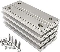 8-pack magnet pro 32 kg kraft stark neodymium rektangulära grytmagneter 60 x 13,5 x 5 mm med försänkt hål, hushåll och...