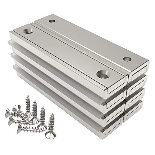 Magnetpro 8 piezas imanes rectangulares 30 kg de fuerza 60 x 13.5 x 5 mm con agujero avellanado, imanes de neodimio domésticos e industriales con tornillos de fijación