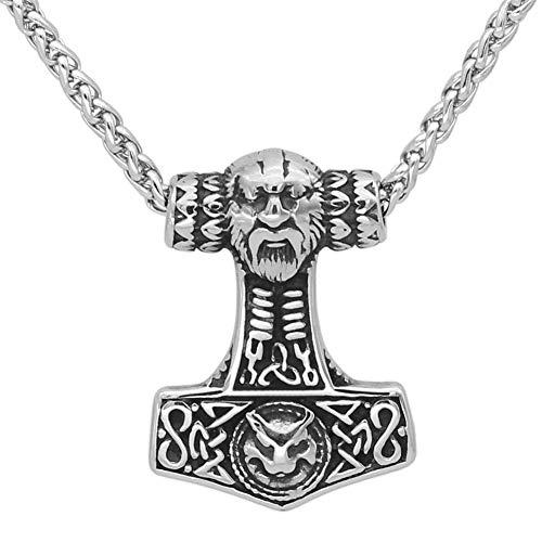 WTZWY Collar de Cadena para Hombre Thor's Hammer Thor's Hammer Metal, Amuleto Cultural Escandinavo del Rey Vikingo Proporciona Fuerza y Resistencia
