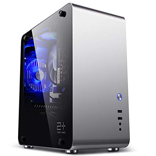 commercial Golden Field M3S ITX Mini Computer PC Case, Tempered Glass Aluminum Silver with Side Window itx case cheap