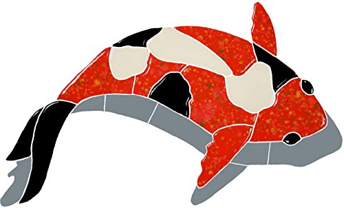 Artistry in Mosaics Koi Fish Red Ceramic Swimming Pool Mosaic (8' x 12' with Shadow, Red)