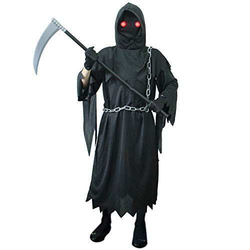 yosager Halloween Costume for Kids, Glowing Red Eyes Death Scary Black Robe with spooky sleeves for Boys Halloween Decoration Dress Up Party, Large (10-12), Standard, Black