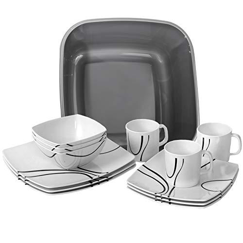 Melamin Geschirr Set 4 Personen - 17 Teile - mit Waschschüssel - ideal für Camping je 4 Teller 4 Dessertteller 4 Schale 4 Becher weiß/schwarz eckig Essgeschirr Campinggeschirr modernes Melamingeschirr