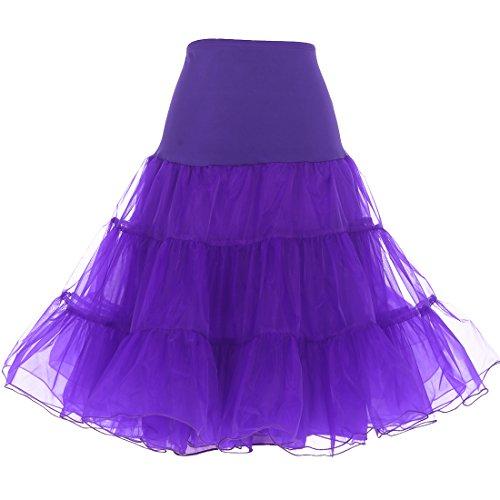 DRESSTELLS Mujeres Cancan 50s Retro Rockabilly Enaguas Miriñaques Faldas Purple M-L