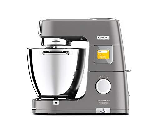Kenwood Titanium Chef Patissier XL KWL90.034SI – Küchenmaschine mit integrierter Waage & 7 L Rührschüssel mit Wärmefunktion, 1400 Watt, inkl. 4-teiligem Patisserie-Set, silber