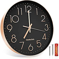 Geekclick 12 Wall Clock [Battery Included], Silent & Large Wall Clocks for Living Room/Office/Home/Kitchen Decor, Modern Style & Easy to Read - Rose Gold &Black