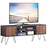 Tangkula Retro TV Stand for 60'' TV, Modern Entertainment Center for Flat Screen TV Cable Box Gaming Consoles, Media Console with Cabinet Doors (Walnut)