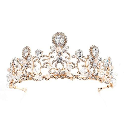 Corona romántica de boda con cristales brillantes y perlas para novia, para...