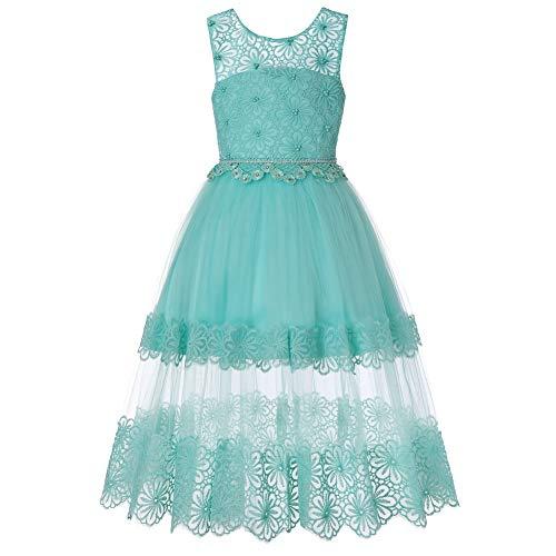 JTSYUXN Blume Kinder Mädchen Kleid Kinder Schulterfrei Langes Abendkleid Tüllkleid...