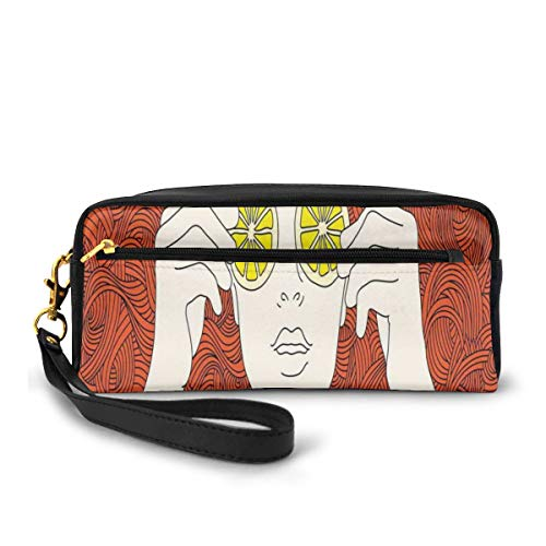 Pencil Case Pen Bag Pouch Stationary,Curly Ginger Hair Girl Covering Her Eyes With Lemon Slices Artistic Female Portrait,Small Makeup Bag Coin Purse