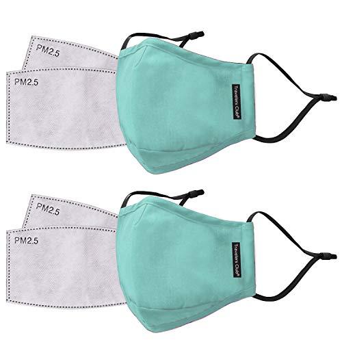 Travelers Club 2 Piece Face Mask Plus 4 Air Filters Set, Mint, Standard