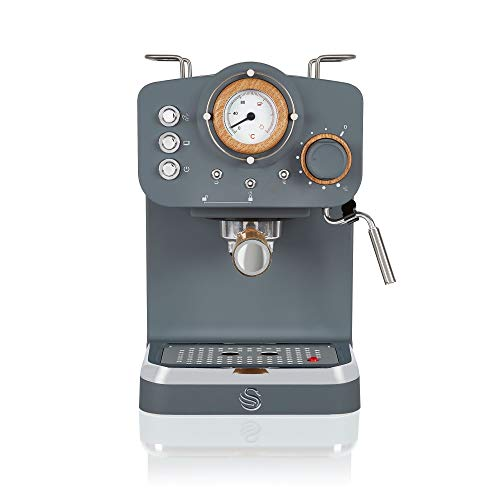 Swan Espresso Machine, 15 Bars of Pressure, Milk Frother, 1.2L Tank, Scandi...